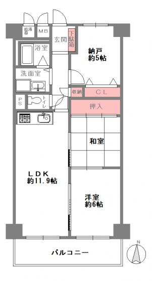 2LDK+S、価格1698万円、専有面積61.6m2、バルコニー面積7.28m2