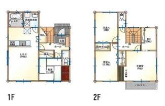 グランファミーロもねの里 土地 物井駅 建物プラン例(1) 建物価格1490万円、建物面積104.33㎡