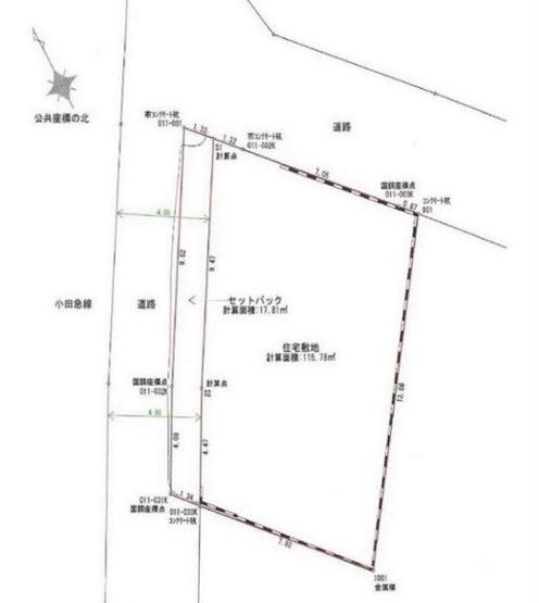 【土地図】藤沢市鵠沼松が岡5丁目 売地