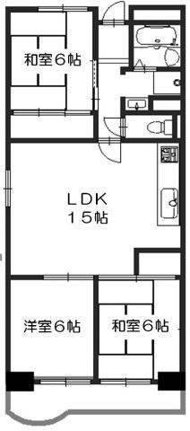 3LDK、価格1500万円、専有面積68.17m2、バルコニー面積8.43m2