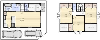 建物参考プランです、間取りや駐車場などご自由に設計頂けます♪