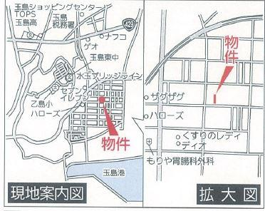 【地図】クレイドルガーデン倉敷市玉島乙島第6 3号棟