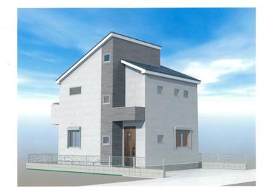 完成予想パースです。サッシはLIXIL製サーモスⅡ-H(Low-eガラス)、断熱材は隅々まで行き届いた発泡ウレタン使用で、グレードの高い家仕様をしてます。