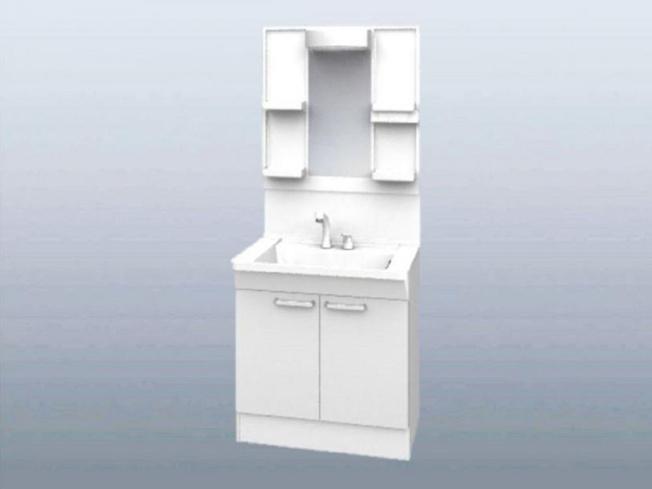 洗面化粧台はTOTO製の新品に交換します。スクエアなデザインの洗面ボウルは間口75cm、実容量8.5Lと広々。水が流れやすい滑り台ボウルで全体に水がいきわたります。