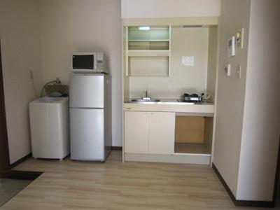 2ドア冷蔵庫、電子レンジ、1口ガスコンロ、洗濯機が付いています。