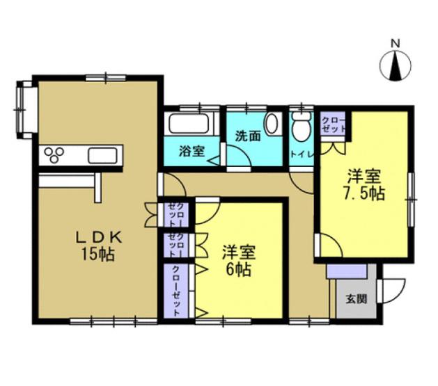 2LDK 平屋建て!コンパクトで生活しやすいおうちです。