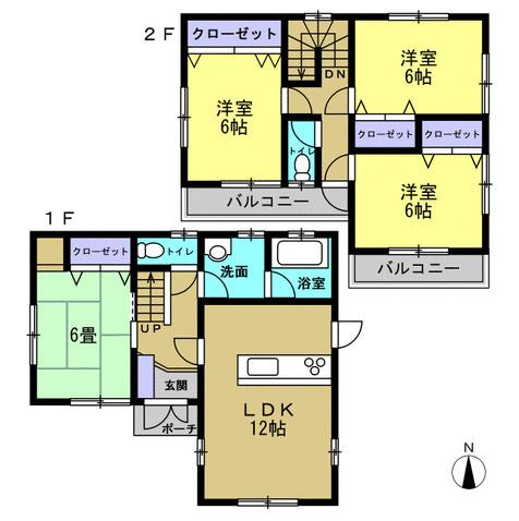 4LDK 2階階段ホールの天井にある階段を下ろすと屋根裏収納があります。