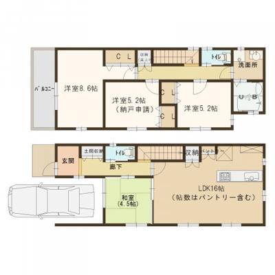延床面積約104㎡(車庫掘り込み部分含む) 参考プラン建物価格 1680万円※標準価格は1600万円です。