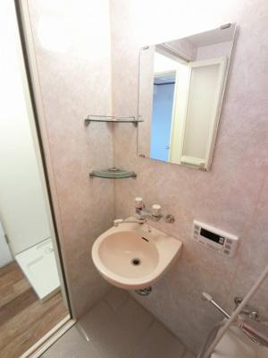 浴室内の洗面台です。鏡付きのため身だしなみをしっかり整える事が出来ます。