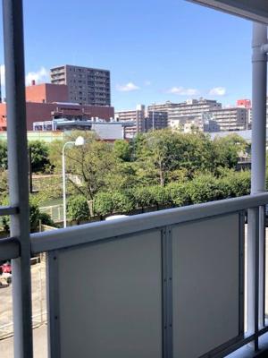 玄関からの眺望です。こちらも、高い建物は無く、緑がきれいな眺望です。