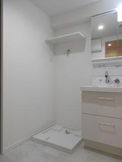 洗濯機置き場の上部のスペースには洗剤等を置く棚が設置されています