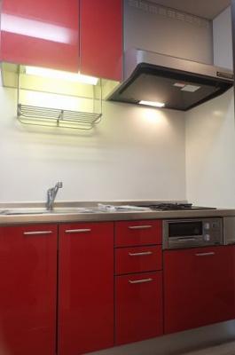 2口ガスコンロ/グリル付きシステムキッチンです☆たっぷり収納もあるシステムキッチンでお料理もはかどります!