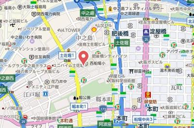 【地図】ルモン肥後橋公園前
