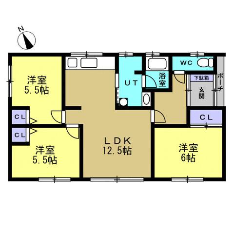 【リフォーム後間取図】和室から洋室に変更を行い、2LDKから3LDK仕様になります。