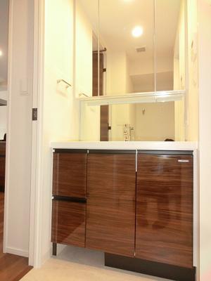 三面鏡付き独立洗面室、左下にヘルスメーターストック付きです