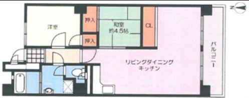 2LDK、価格1880万円、専有面積61.83m2、バルコニー面積7.56m2