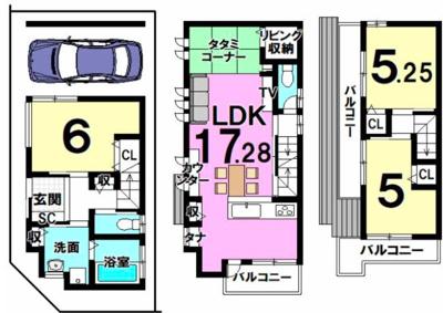 戸建プラン2: 建物1,599万円、 建築面積81.01㎡(1F:25.5㎡、2F:34.83㎡、3F:20.66㎡)、 木造3階建、3LDK、駐車場1台、 建築確認申請費用70万円別途要(税別)