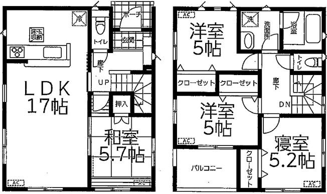 4LDK、二階に洗面所、お風呂場があるのですぐに自室に行けて、ゆったり自分の時間を過ごすこができますよ♪
