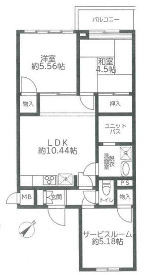 専有面積52.68平米  陽当り良好の3LDK! 各室収納付きの使い勝手の良い間取りです。