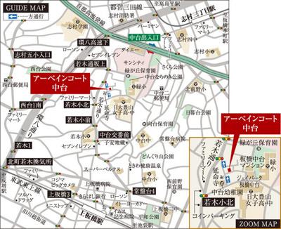 【地図】アーベインコート中台