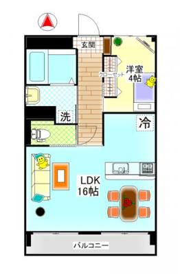鶴形1丁目 鶴形ビル 1LDK 居間・リビング