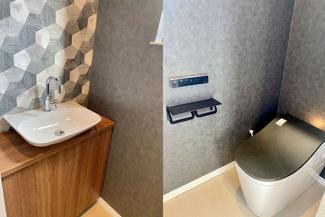 Panasonic上級高機能トイレのアラウーノL150グレード、スタイリッシュなパナソニック洗面付です。トイレもWiFi接続でスマホ管理。瀟洒な2連アイアンペーパーホルダー&タオルホルダー付です♪
