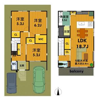 広々2階リビング間取りで、南向きにつき陽当たりは良好です。駐車スペースは2台(小型車1台含む)です。2号地の角地区画はお好きな間取りプランで設計可能ですので、4SLDKなどもお気軽にご相談下さいませ。