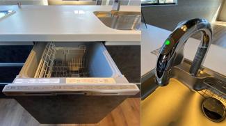 食器洗乾燥機は上級グレードの深型でたっぷり入ります。ベゼルレスタイプでキッチンに溶け込むデザインが魅力です。インテリアにも映える上級グレード高機能タッチレススワン型水栓です。(ともにeconavi付)