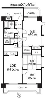 専有面積81.61平米の大型間取り ツードアワンルームで容易に4LDKへ変更可能