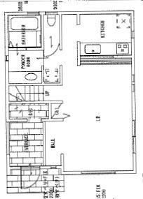 21号地参考プラン。玄関の開放感とキッチン、ダイニング、リビングが一体となって、広さを感じさせる間取りをご提案。