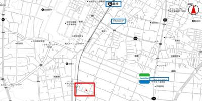 【地図】高柳3374-4 土地(建築条件なし 水道メーター付)