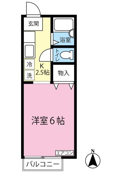 キッチン2.5帖・洋室6帖の1Kタイプのお部屋です☆はじめての一人暮らしにもぴったり♪