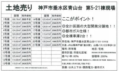 垂水区青山台5 売地 仲介手数料割引!