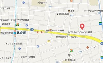 【地図】T.A足立区大谷田3丁目ⅡB棟