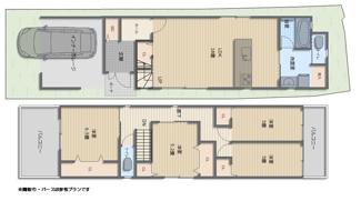 間取り参考プラン 三階建て、駐車場2台プランもご用意しております!
