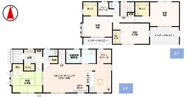 全居室6帖以上でゆったりした間取り。18帖のLDKは対面式キッチンがあります。全居室収納スペース充実しています。インナーバルコニーが2つあります。