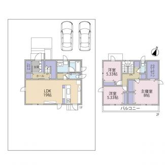3LDK+WIC 土地面積:247.96㎡(75.0坪) 建物面積:105.82㎡(32.01坪)