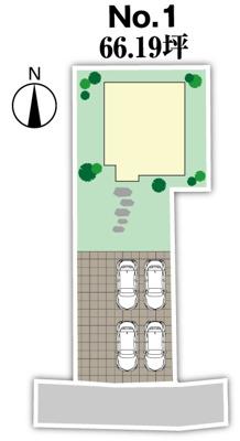 配置図イメージ。車4台駐車可。