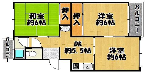 中古マンション 3DK 専有面積:5464平米(壁芯)バルコニー面積:3.96平米 南向き ・北向き