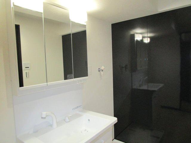 シャワー付き三面鏡洗面台