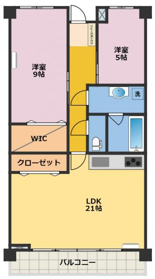 21LDK・5洋・9洋・ウォークインクローゼット 南面バルコニー 2階