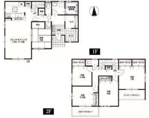 2階は4部屋あります。3人のお子様がそれぞれ自室を持てますよ。7帖の寝室にはクローゼットが2つあり嬉しいですね。