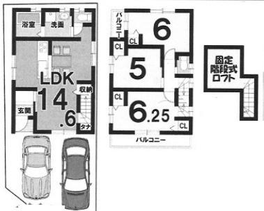 Bプラン: 建物:1199万円、 建築面積:72.90㎡(1F:36.65㎡、2F:36.25㎡)、 木造2階建て、3LDK、駐車場2台、 建築確認申請費用60万円別途要(税別)