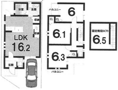 戸建プラン: 建物1,199万円、 建築面積79.94㎡(1F:39.97㎡、2F:39.97㎡)、 木造2階建、3LDK、駐車場1台、 建築確認申請費用66万円別途要(税込)、 外構費110万円別途