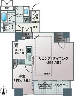 【間取り】約21帖の広々LDK。60㎡超・34階・南向き