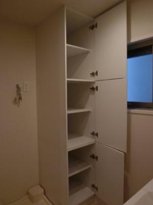 洗面所内収納、奥行もあります