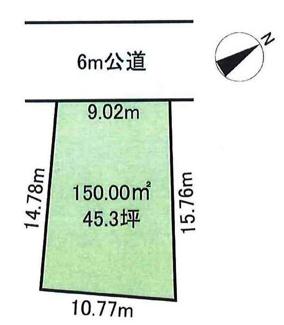 【土地図】鶴ヶ島市羽折町 建築条件なし売地 「坂戸駅」徒歩18分 敷地45坪