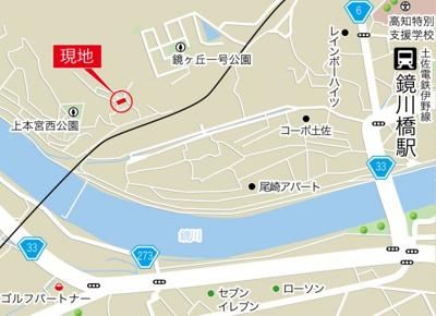 【地図】高知市上本宮町
