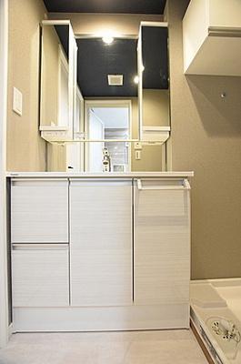 しまったものを管理しやすい引き戸収納付きの洗面化粧台。