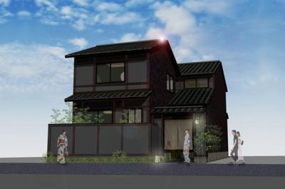 【外観パース】~紡~京都駅南 新築京町家風ゲストハウス企画